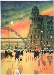Dusk on the Quayside, Newcastle by Peter J Rodgers -  sized 20x28 inches. Available from Whitewall Galleries